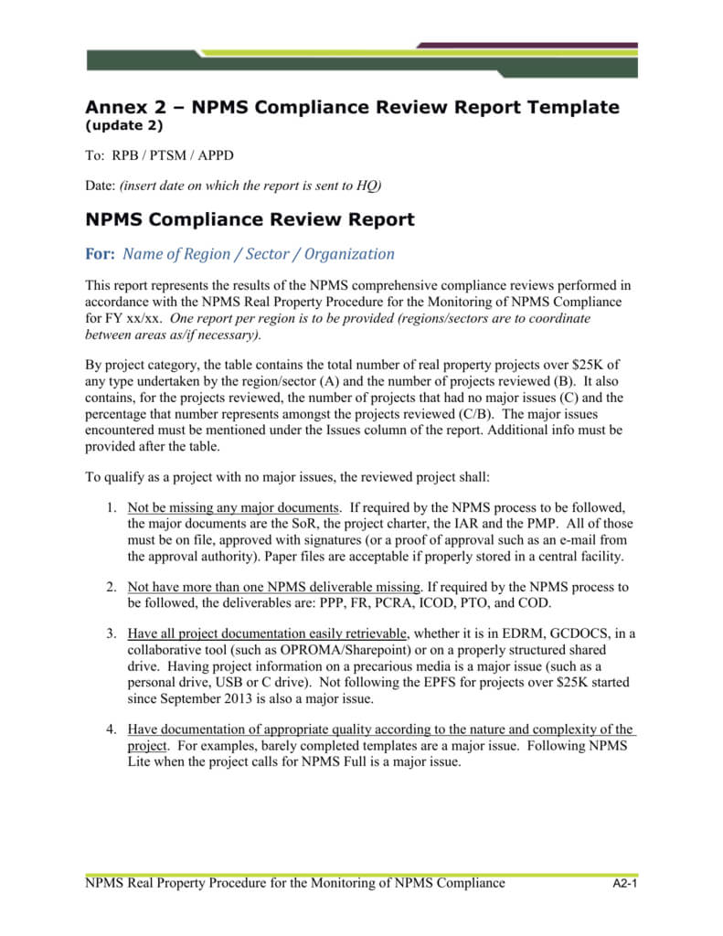 Npms Compliance Review Report Template (Update 2) Inside Compliance Monitoring Report Template