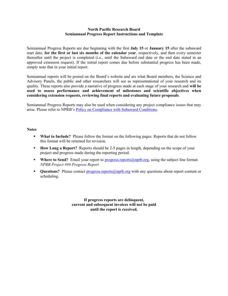 Nprb Progress Report Template - North Pacific Research Board in Research Project Progress Report Template