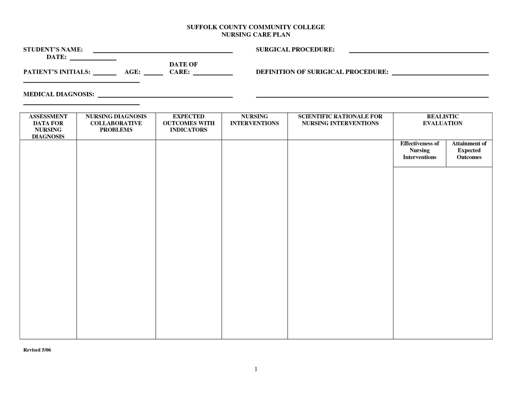 Nursing Care Plan Templates Blank - Atlantaauctionco With Regard To Nursing Care Plan Templates Blank