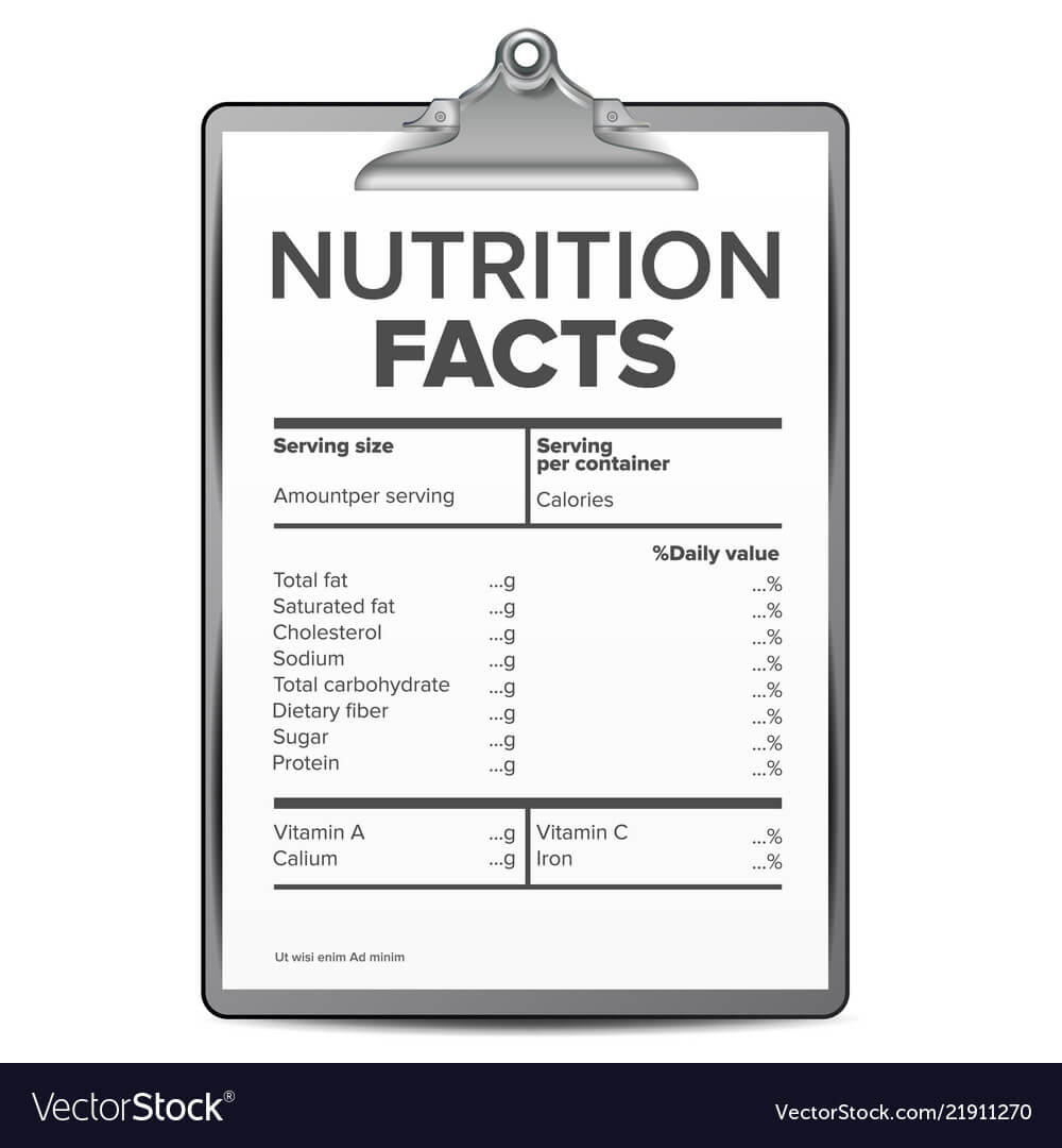 Nutrition Facts Blank Template Diet within Blank Food Label Template