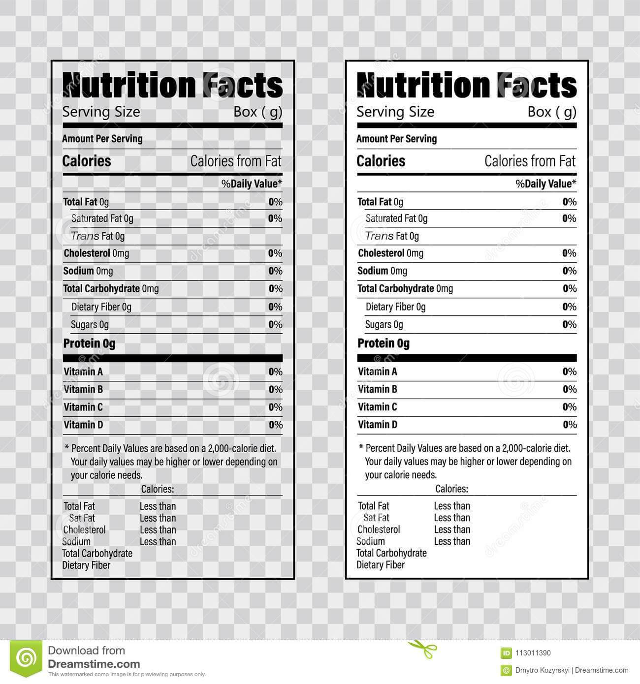 Nutrition Label Template Facts Creator Clipart Images with regard to Nutrition Label Template Word