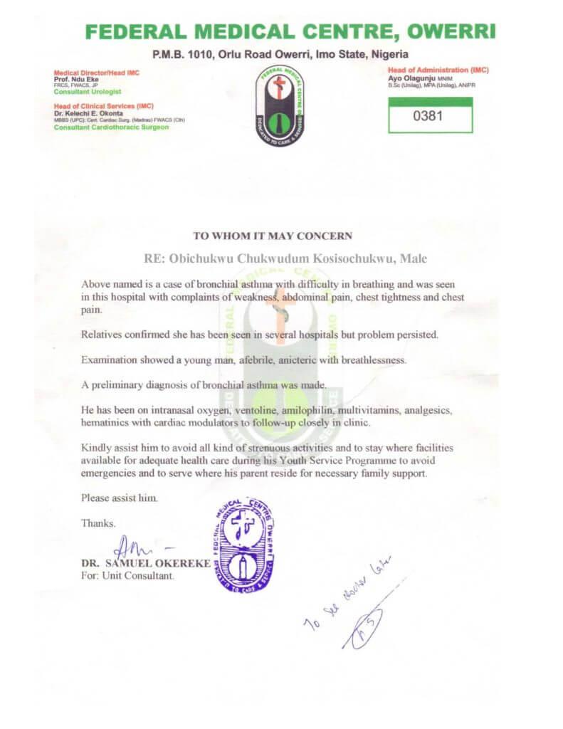 Nysc Relocation Medical Certificate Sample | Nibbleng regarding Fake Medical Certificate Template Download