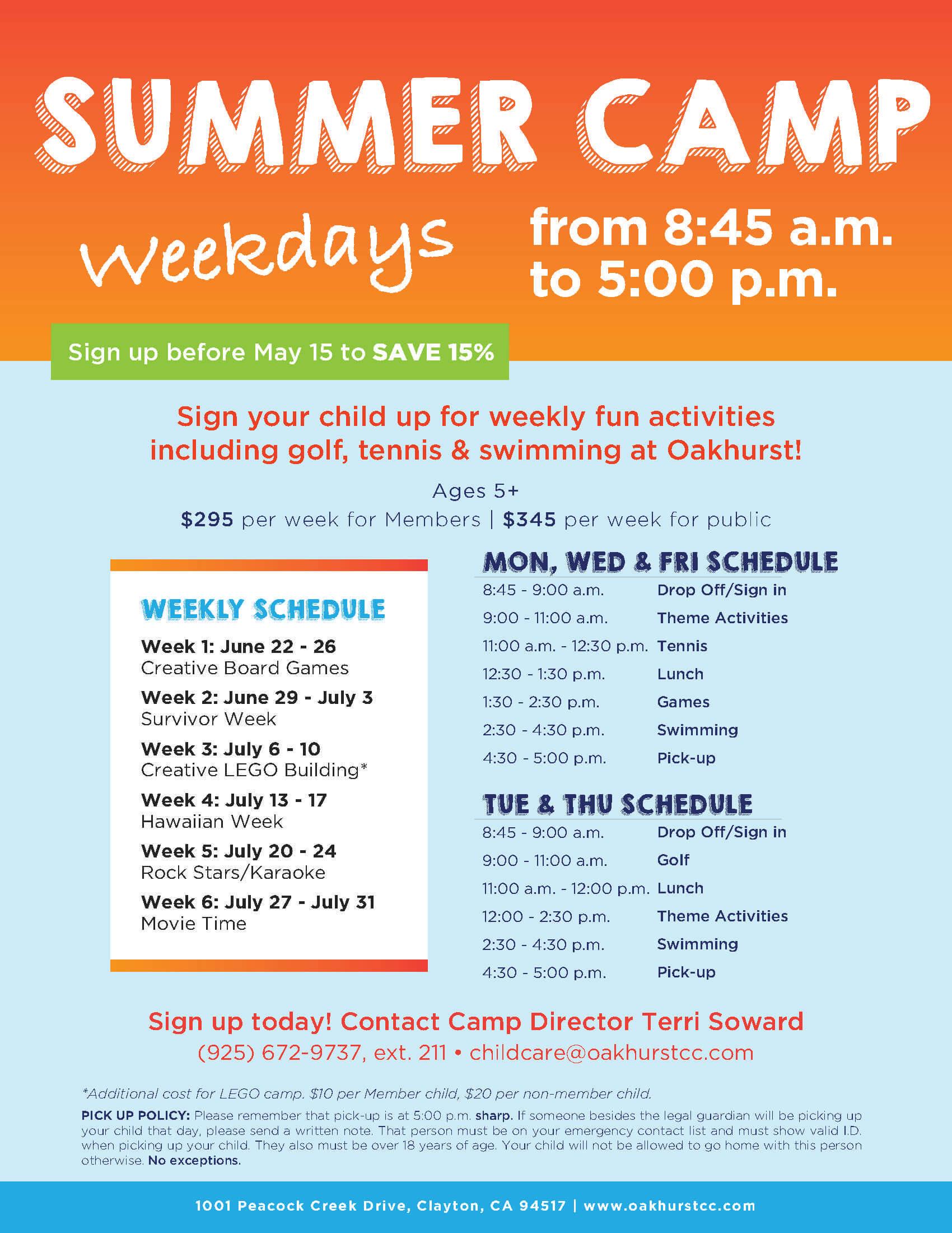 Oakhurst Summer Camp Flyer Template   Best Summer Camps inside Summer Camp Brochure Template Free Download