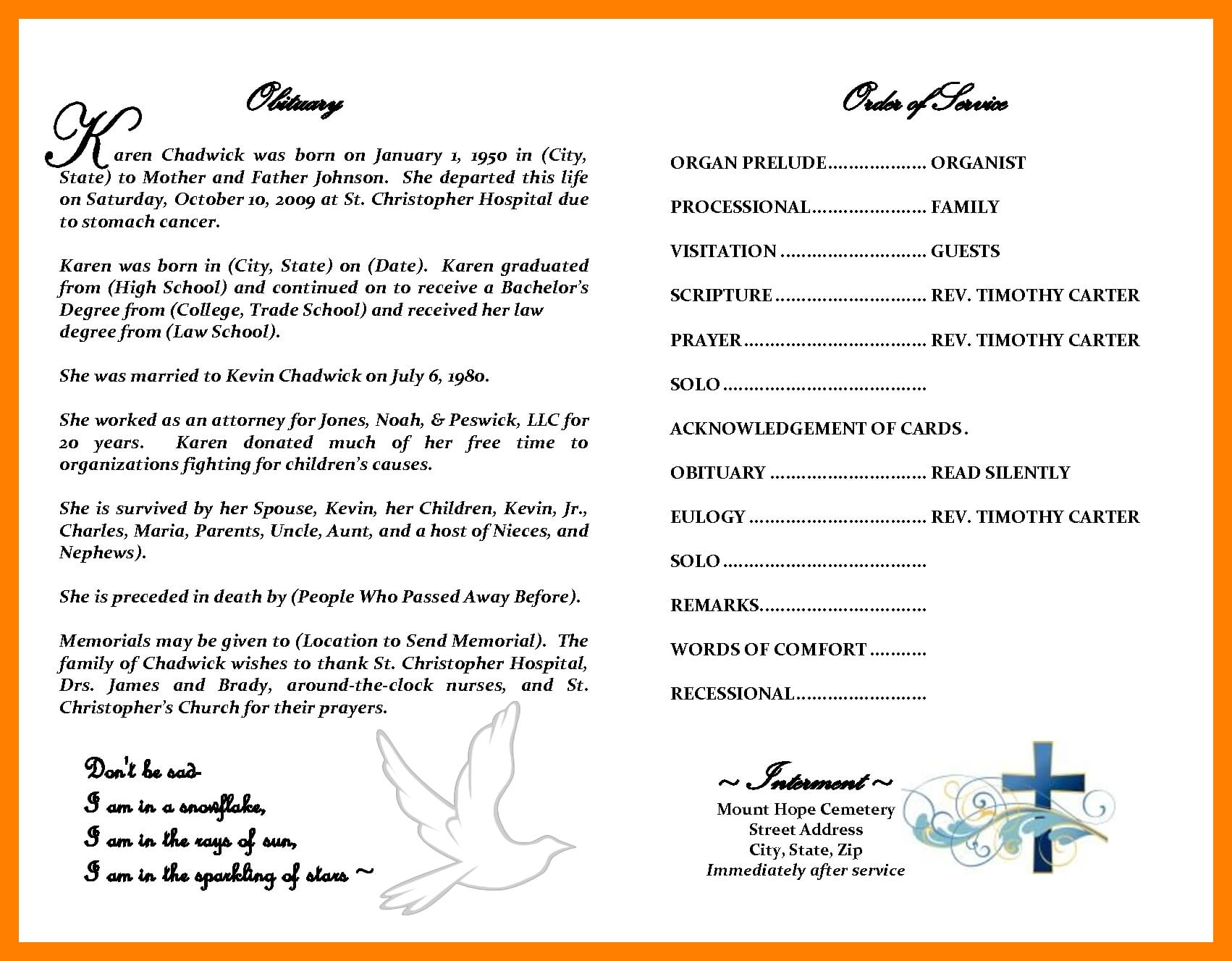 Obituary Template Word Document - Atlantaauctionco With Regard To Obituary Template Word Document