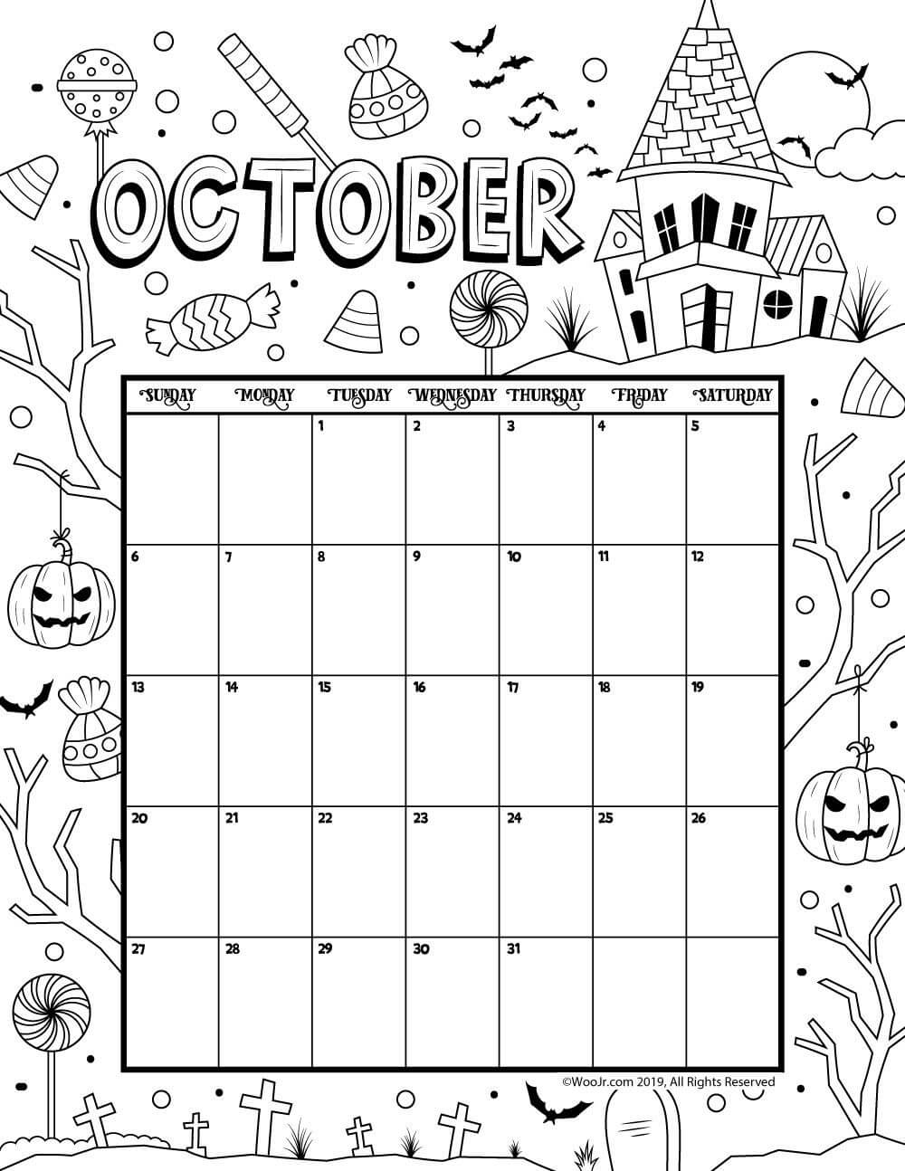 October 2019 Coloring Calendar   Kids Calendar, Printable in Blank Calendar Template For Kids