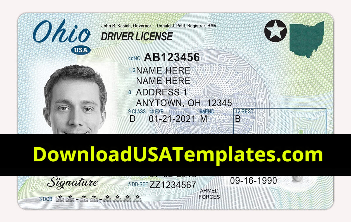 Ohio Driver License Psd | Oh Driving License Editable Template with Blank Drivers License Template