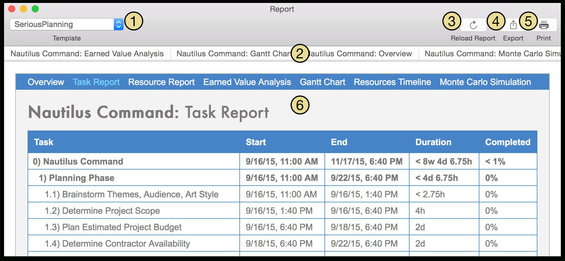 Omniplan 3 For Mac User Manual - Reporting And Printing inside Html Report Template Download