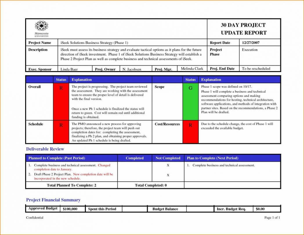 One Page Status Report Template - Atlantaauctionco with Project Weekly Status Report Template Excel