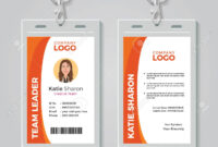Orange And White Corporate Id Card Template inside Work Id Card Template