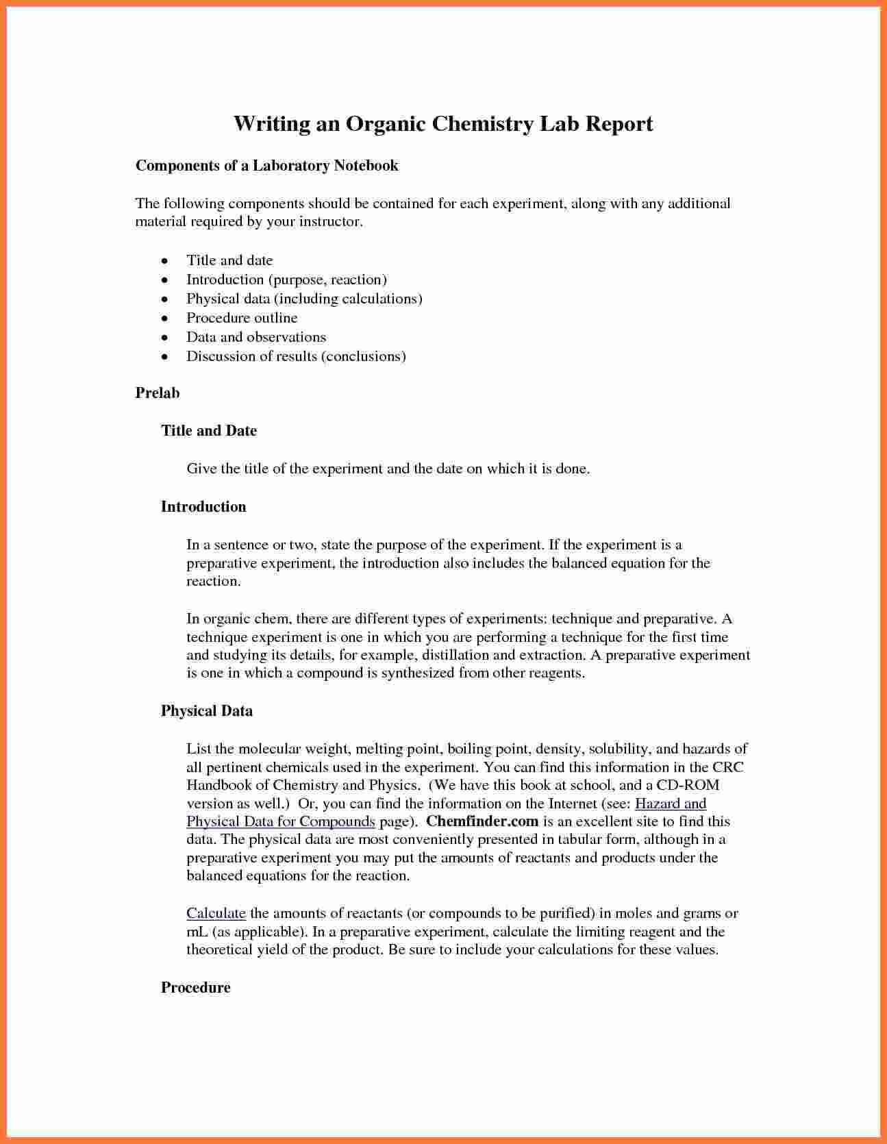 Organic-Chemistry-Lab-Report-Example-Also-Ibmistry-Lab with Chemistry Lab Report Template