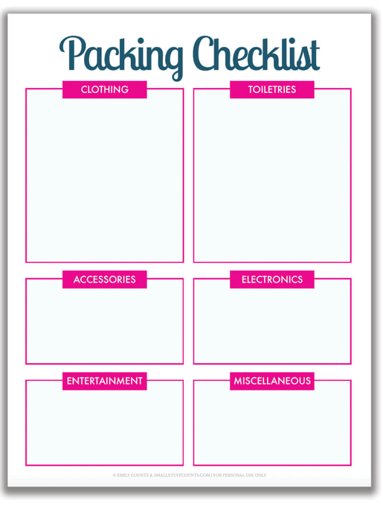 Organized Travel: A Free Printable Packing List For Your for Blank Packing List Template