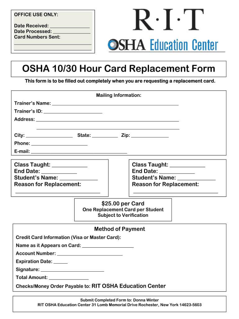 Osha 30 Card Template - Fill Online, Printable, Fillable Regarding Osha 10 Card Template
