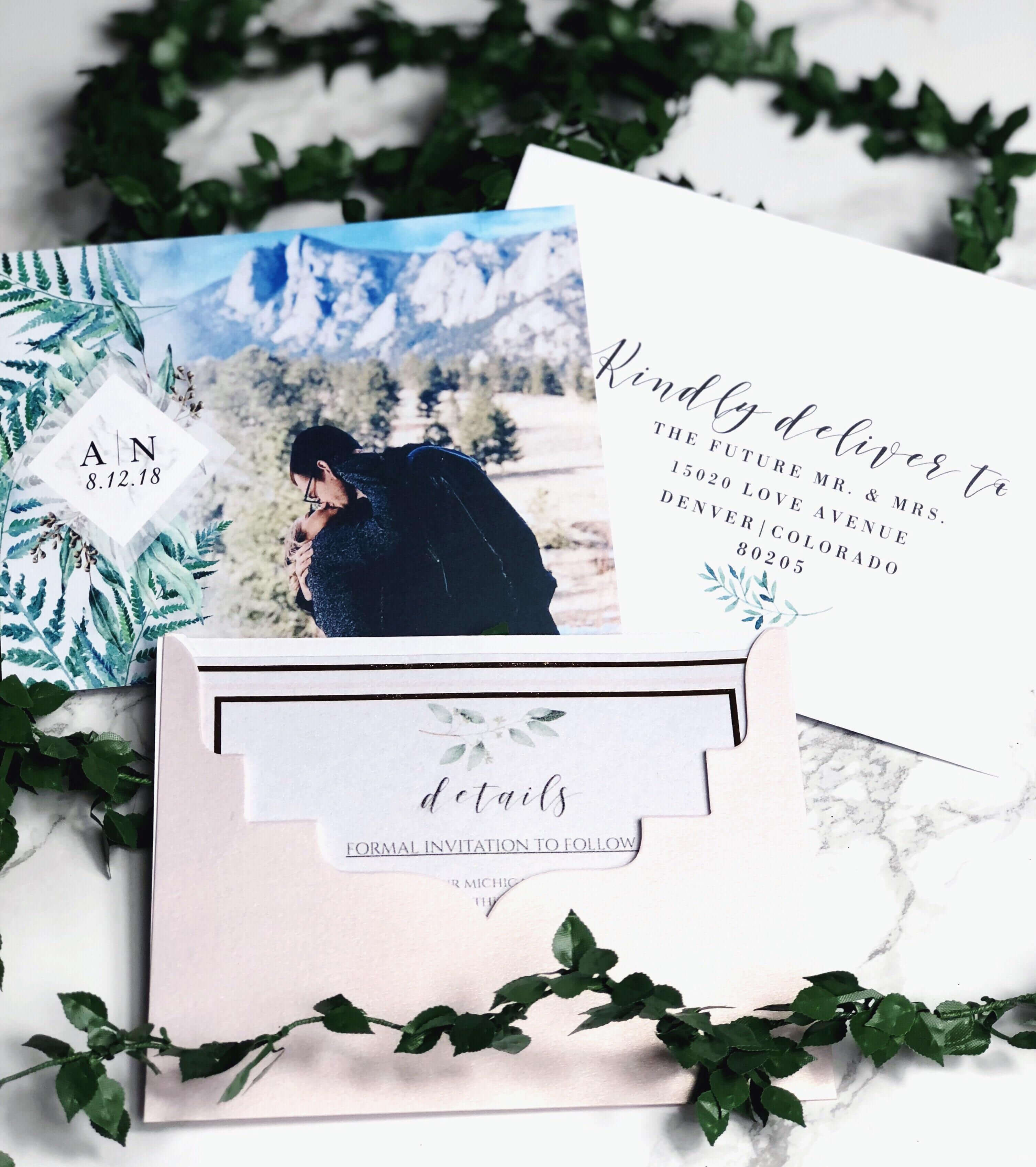 Our Save The Dates! Photo From Vistaprint, Envelope for Michaels Place Card Template