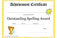 Outstanding Spelling Award Printable Certificate Pdf Picture Inside Spelling Bee Award Certificate Template