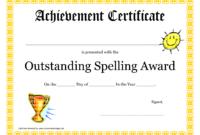 Outstanding Spelling Award Printable Certificate Pdf Picture regarding Classroom Certificates Templates