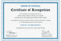 Outstanding Student Recognition Certificate Template regarding Template For Recognition Certificate