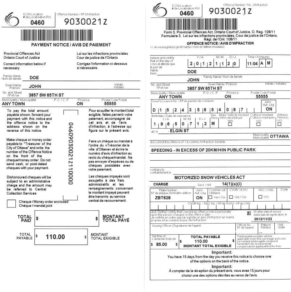 Parking And Provincial Offences Act Tickets   City Of Ottawa with regard to Blank Speeding Ticket Template