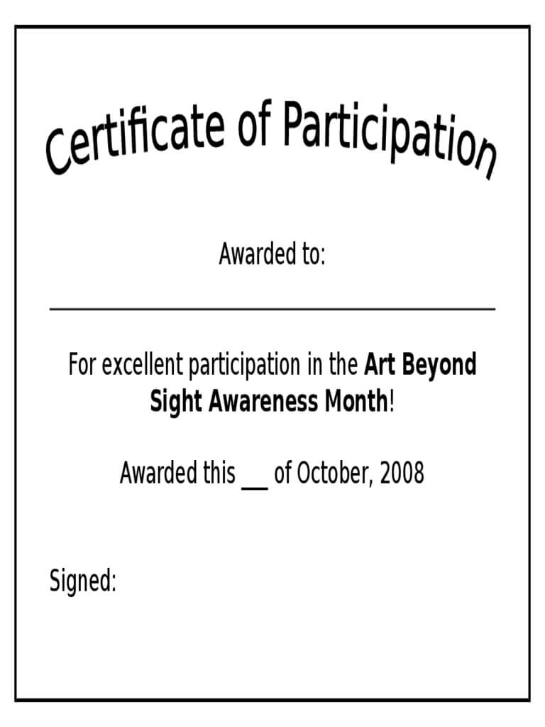 Participation Certificate – 6 Free Templates In Pdf, Word Throughout Certificate Of Participation Template Doc