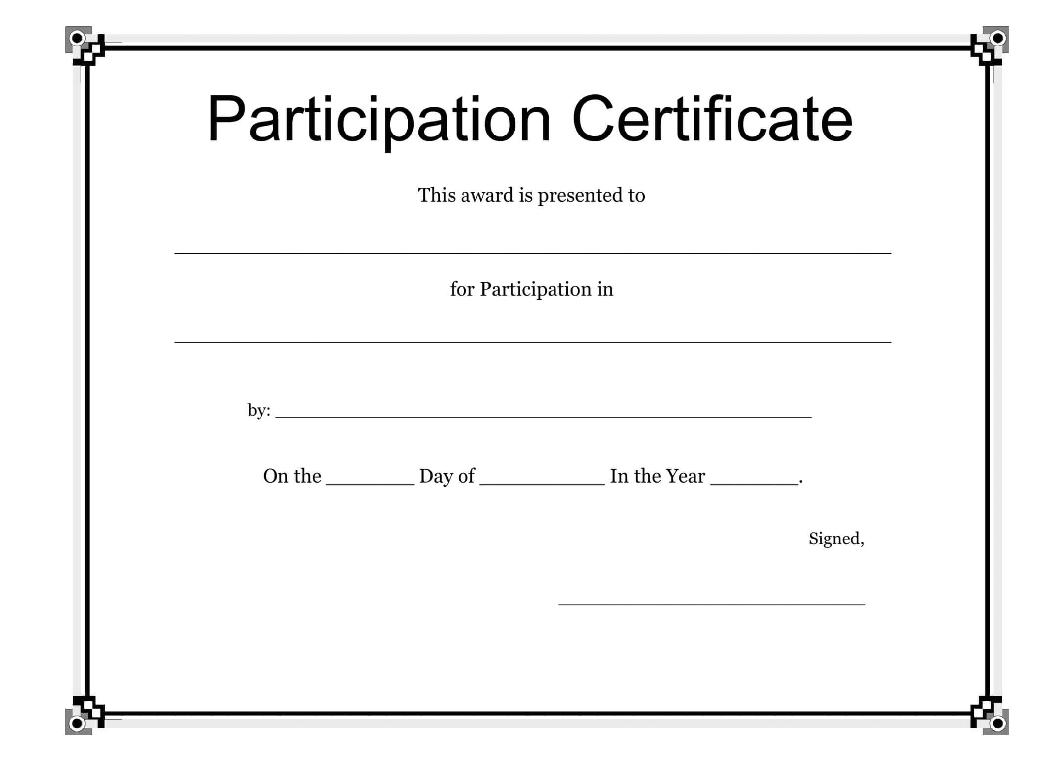 Participation Certificate Template Free Download (Free With Regard To Participation Certificate Templates Free Download