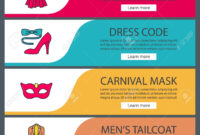 Party Accessories Web Banner Templates Set. Evening Gown, Carnival.. throughout Tie Banner Template