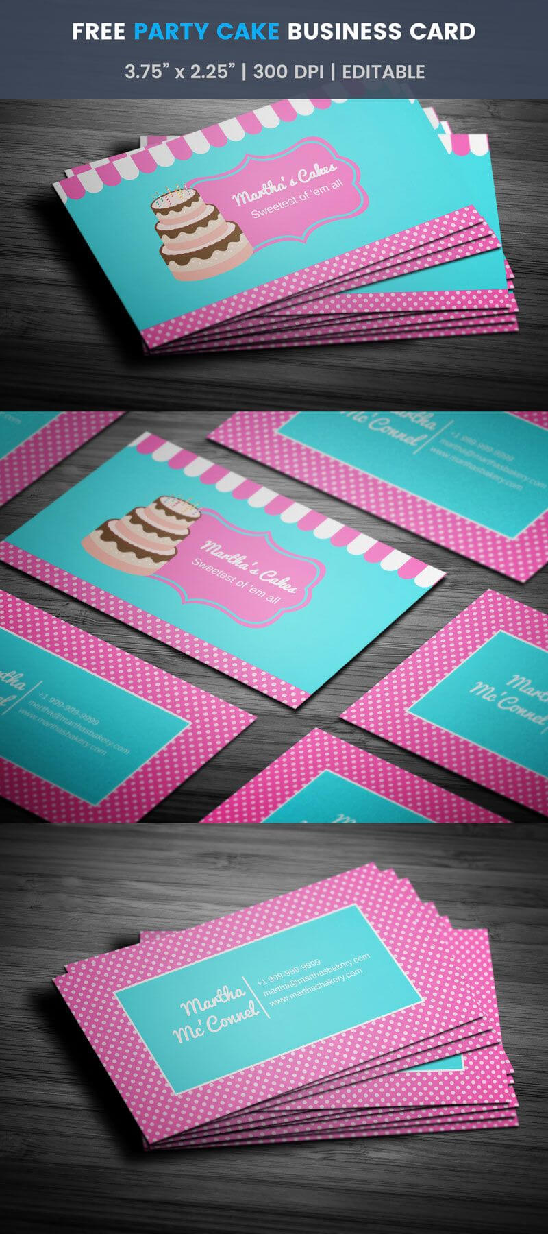 Party Cake Themed Bakery Business Card - Full Preview regarding Cake Business Cards Templates Free