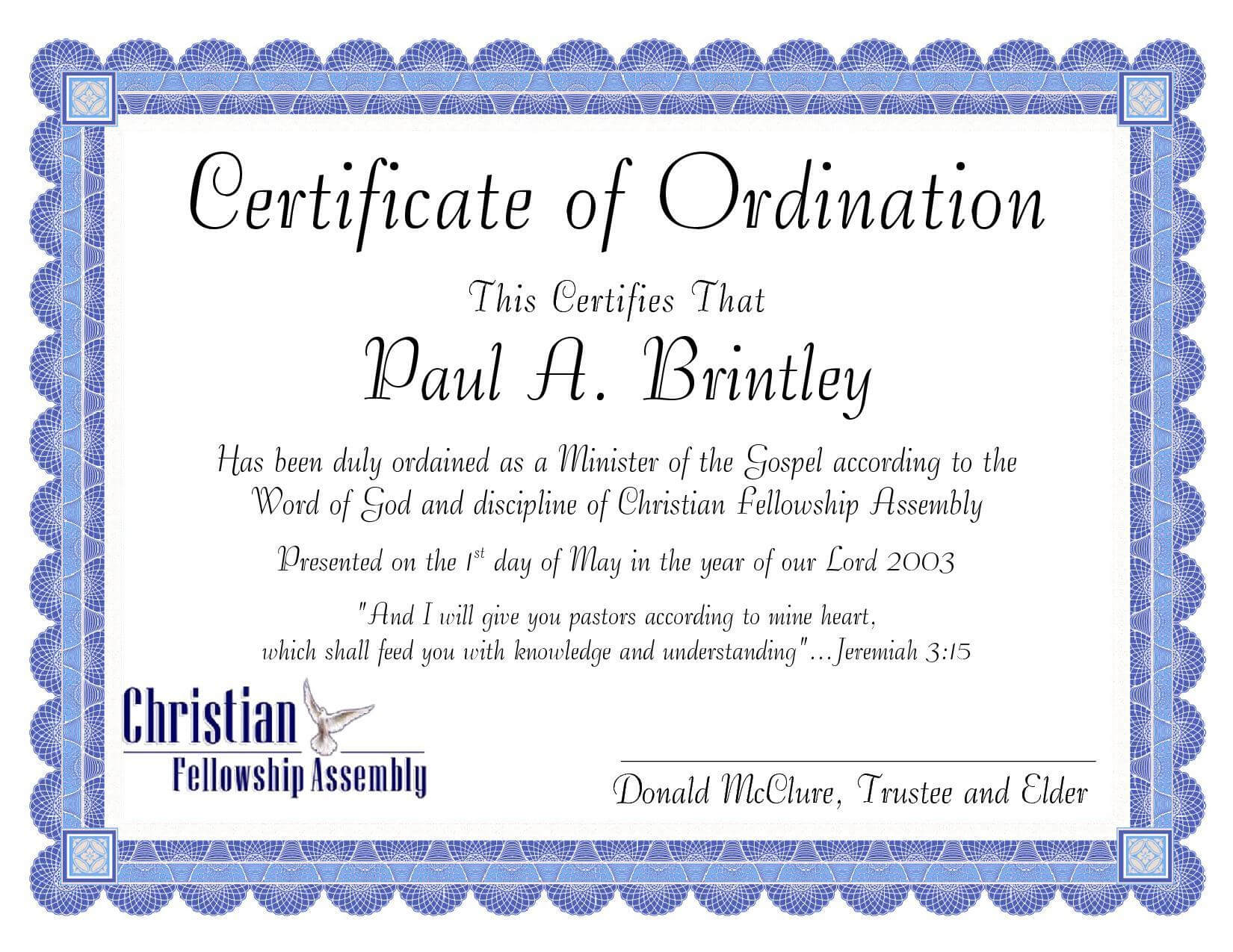 Pastoral Ordination Certificatepatricia Clay - Issuu Pertaining To Ordination Certificate Template