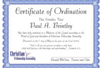 Pastoral Ordination Certificatepatricia Clay – Issuu regarding Certificate Of Ordination Template