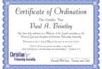 Pastoral Ordination Certificatepatricia Clay – Issuu throughout Ordination Certificate Templates