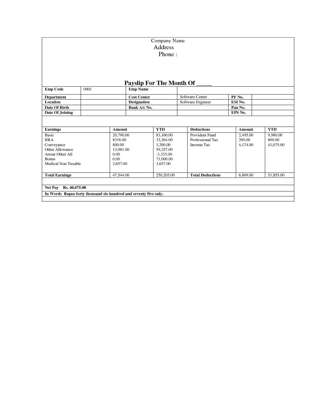Pay Stub Template | Document Sample | Business | Newsletter regarding Pay Stub Template Word Document