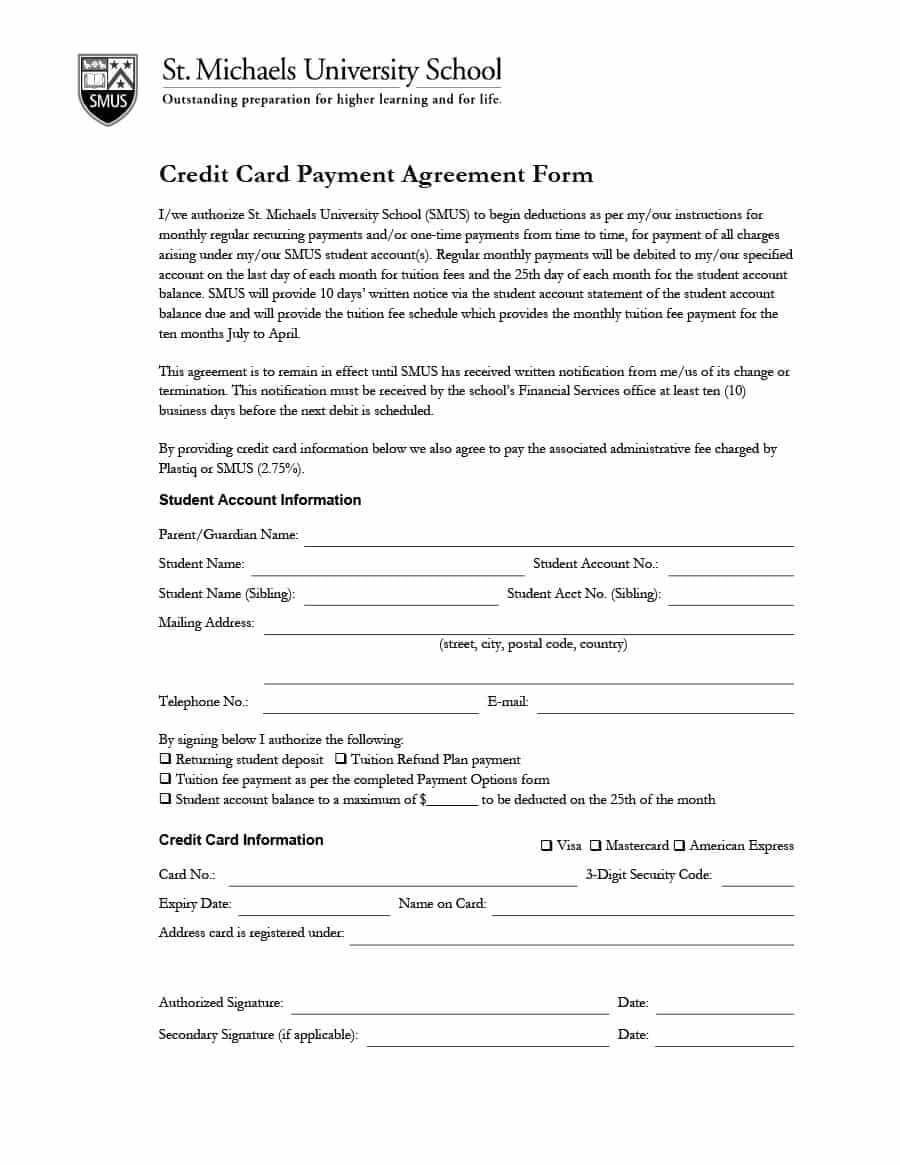 Payment Agreement - 40 Templates & Contracts ᐅ Template Lab Regarding Credit Card Payment Plan Template
