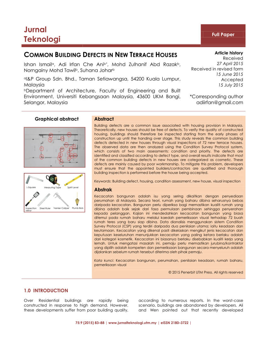 Pdf) Common Building Defects In New Terrace Houses for Building Defect Report Template