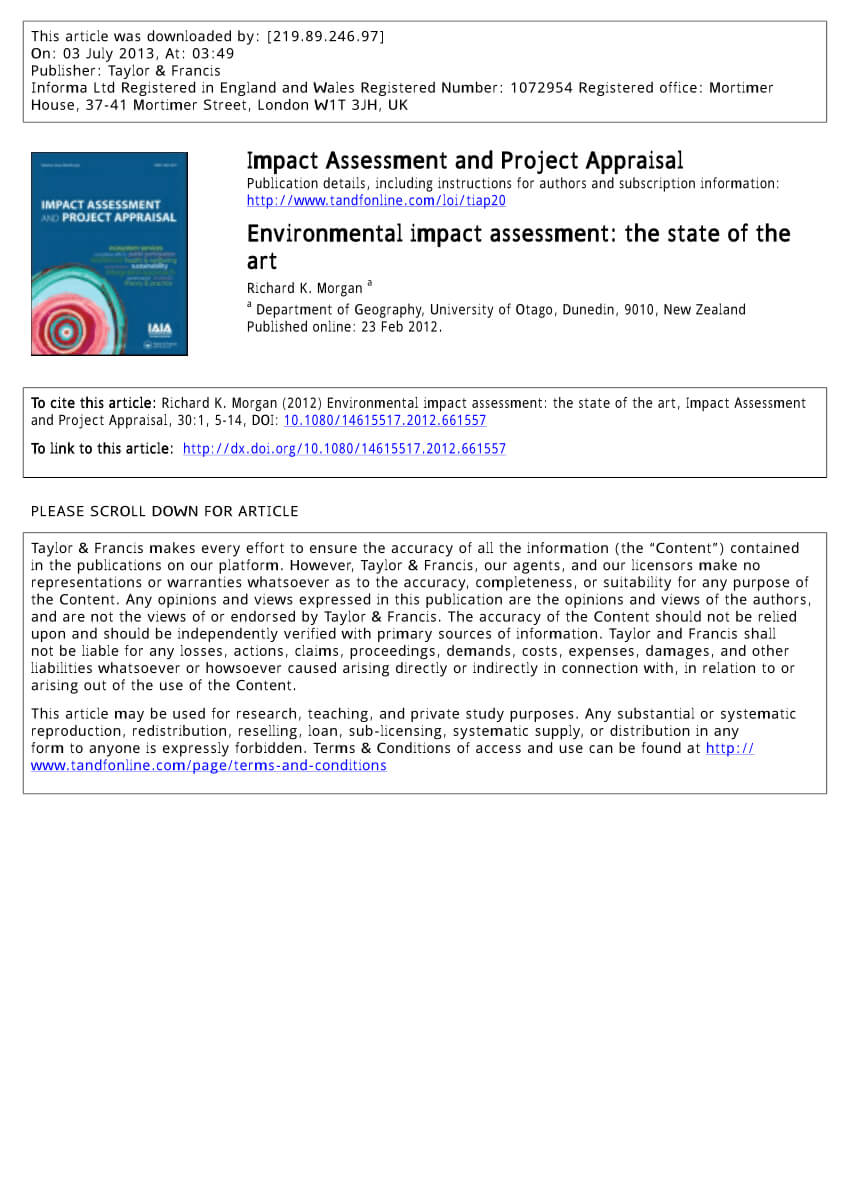 Pdf) Environmental Impact Assessment: The State Of The Art for Environmental Impact Report Template