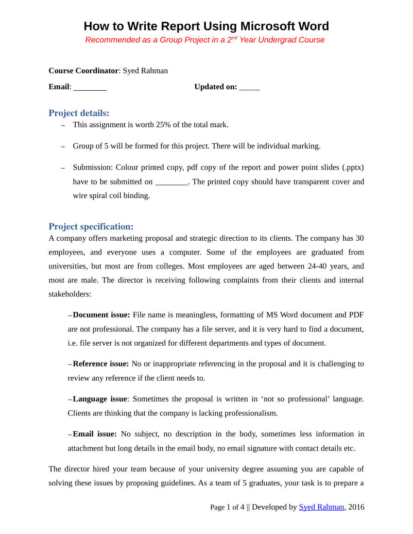 Pdf) How To Write A Report - Assignment Template For Assignment Report Template