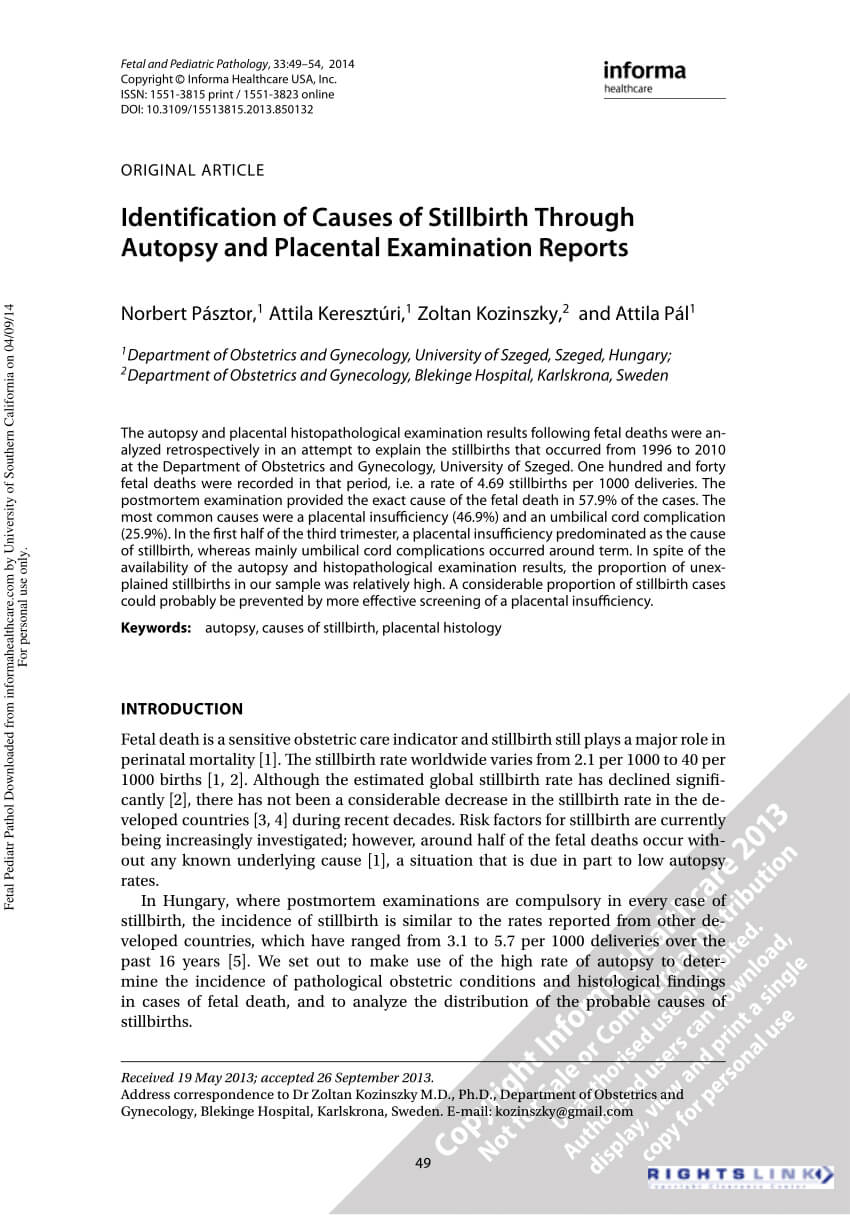Pdf) Identification Of Causes Of Stillbirth Through Autopsy Intended For Autopsy Report Template
