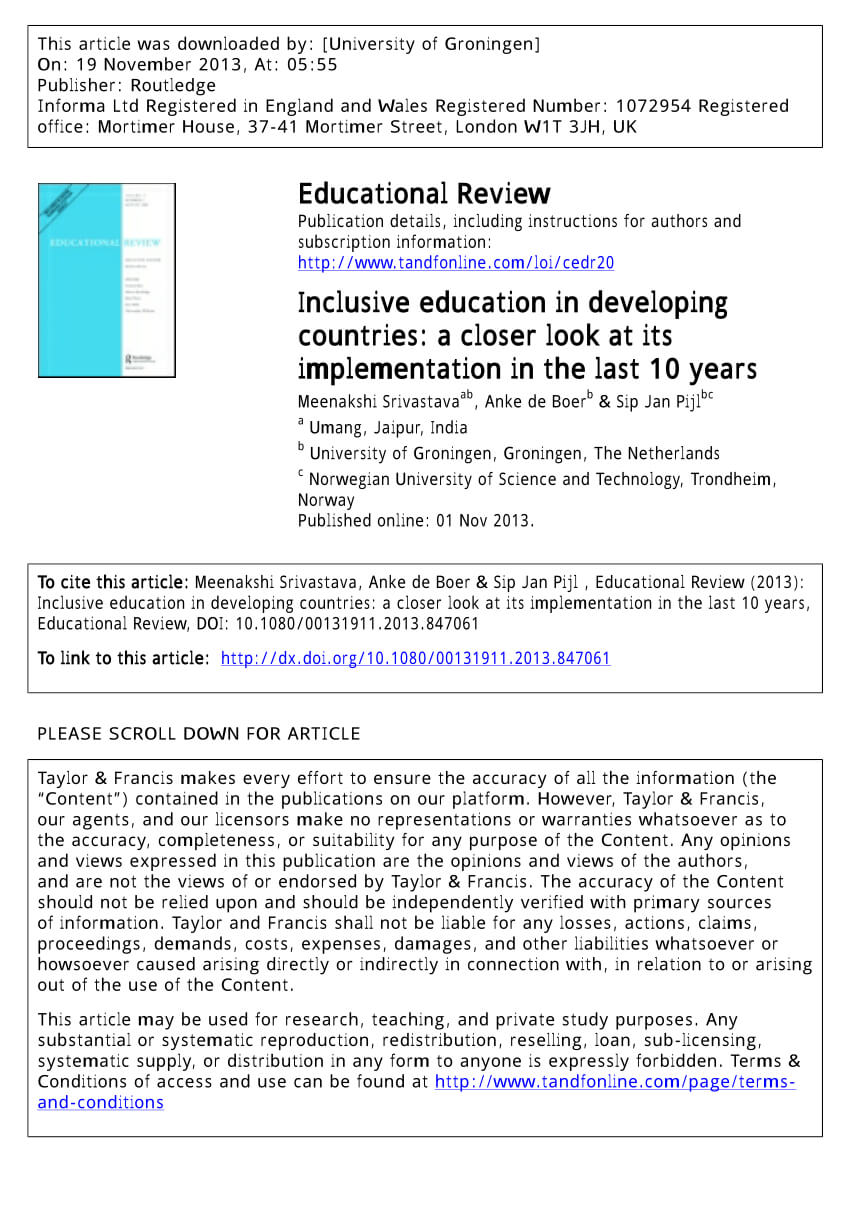 Pdf) Inclusive Education In Developing Countries: A Closer With Country Report Template Middle School