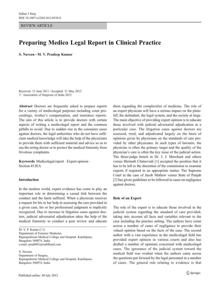 Pdf) Preparing Medico Legal Report In Clinical Practice Inside Medical Legal Report Template