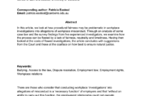 Pdf) Procedural Fairness In Workplace Investigations pertaining to Investigation Report Template Disciplinary Hearing