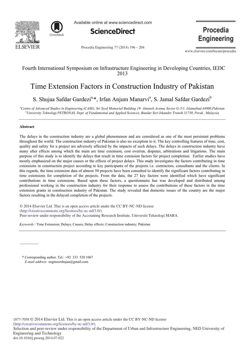 Pdf Time Extension Factors In Construction Industry Of Inside Acceptance Card Template