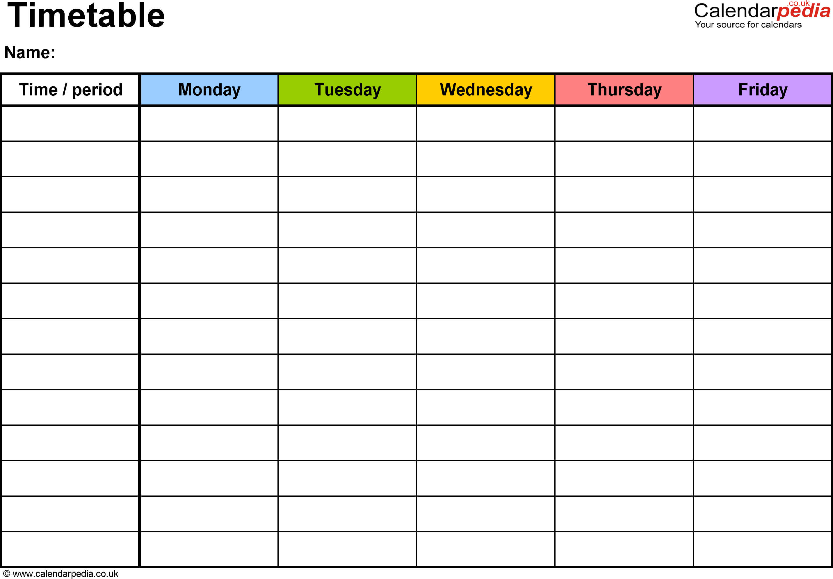 Pdf Timetable Template 2: Landscape Format, A4, 1 Page Regarding Blank Revision Timetable Template
