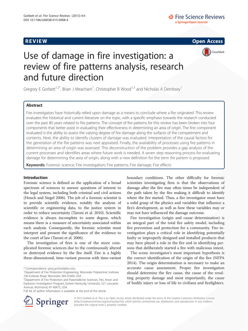 Pdf) Use Of Damage In Fire Investigation: A Review Of Fire intended for Sample Fire Investigation Report Template