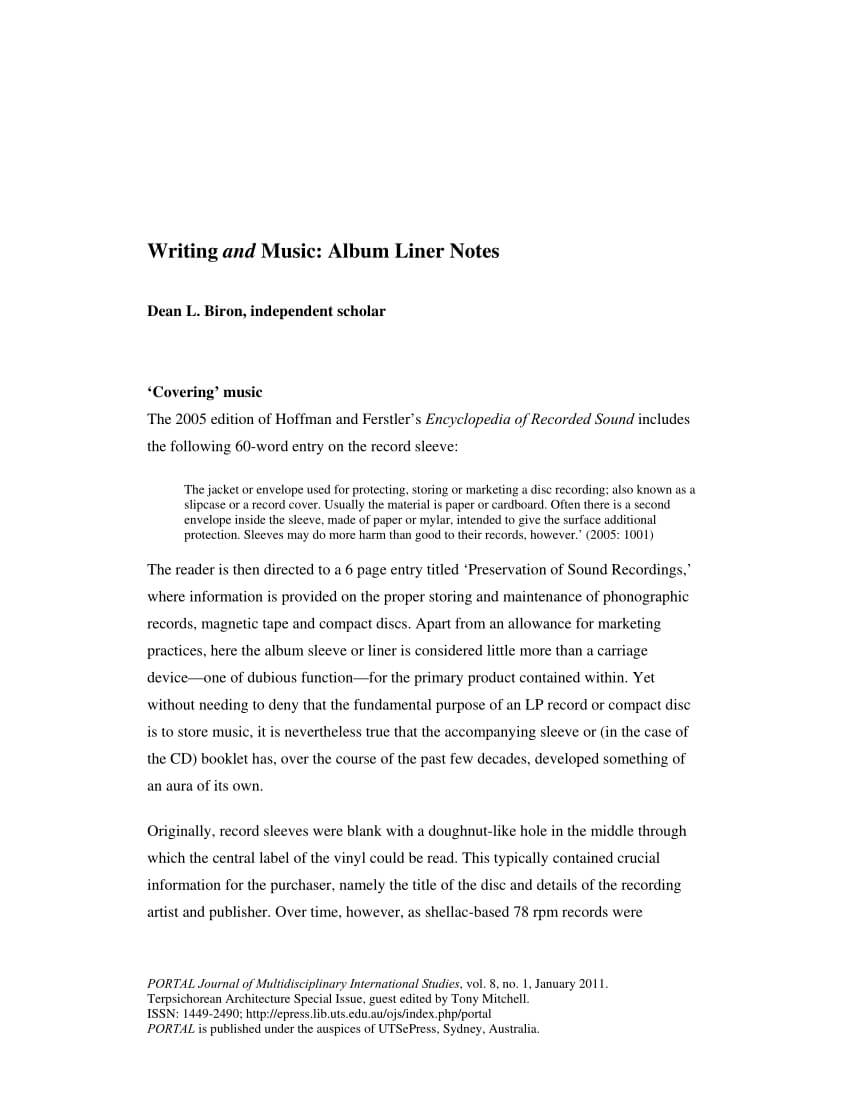 Pdf) Writing And Music: Album Liner Notes throughout Cd Liner Notes Template Word