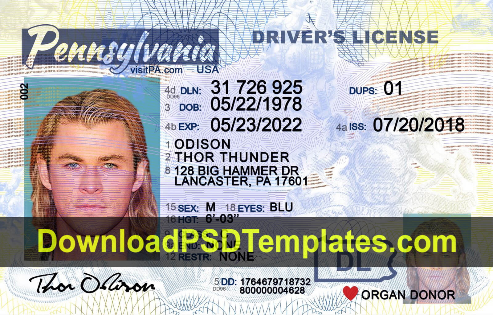 Pennsylvania Driver License Template Psd [New Pa Dl] pertaining to Blank Drivers License Template