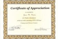 Perfect Attendance Award Certificate Template within Perfect Attendance Certificate Template