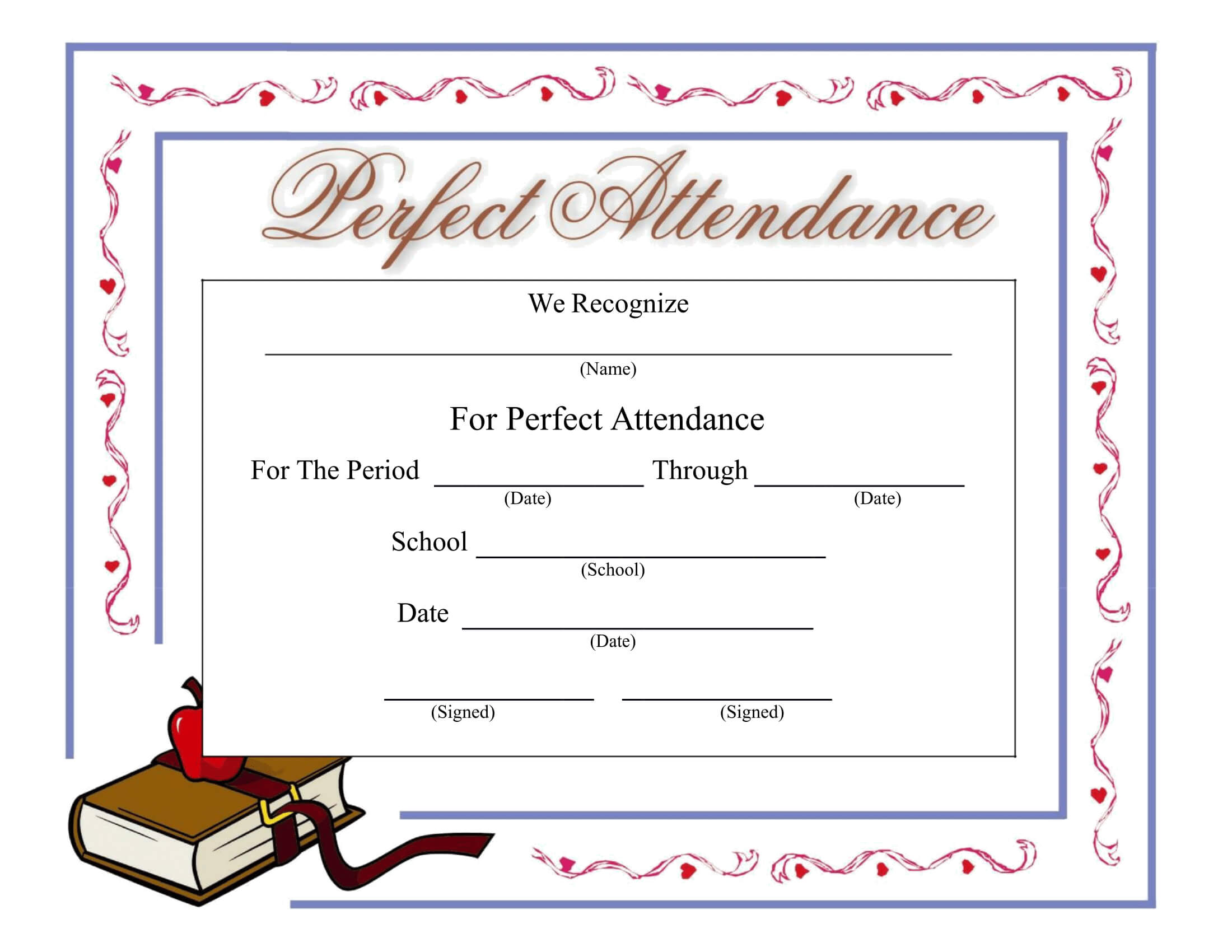 Perfect Attendance Certificate - Download A Free Template pertaining to Perfect Attendance Certificate Free Template