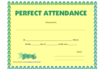 Perfect Attendance Certificate Printable Free Download within Perfect Attendance Certificate Free Template