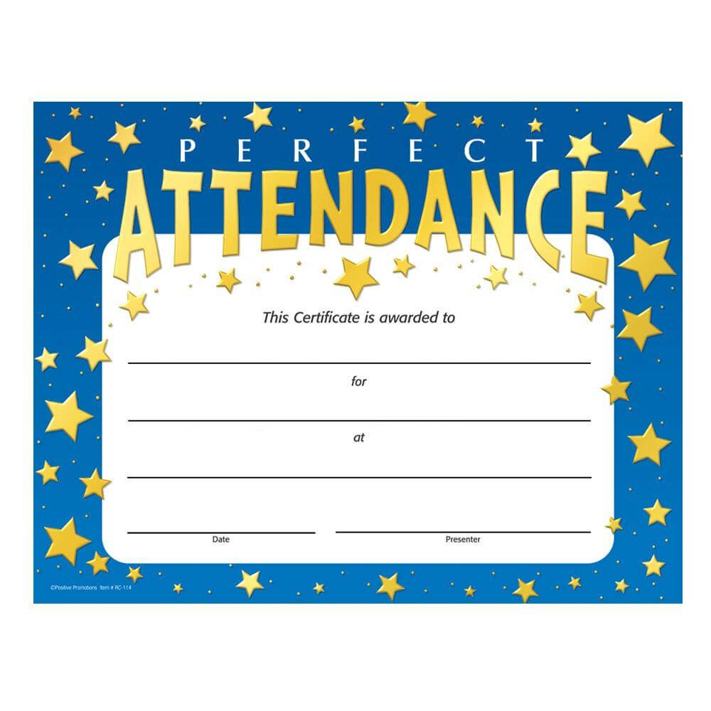 Perfect Attendance Stars Design Gold Foil-Stamped Certificate throughout Perfect Attendance Certificate Template