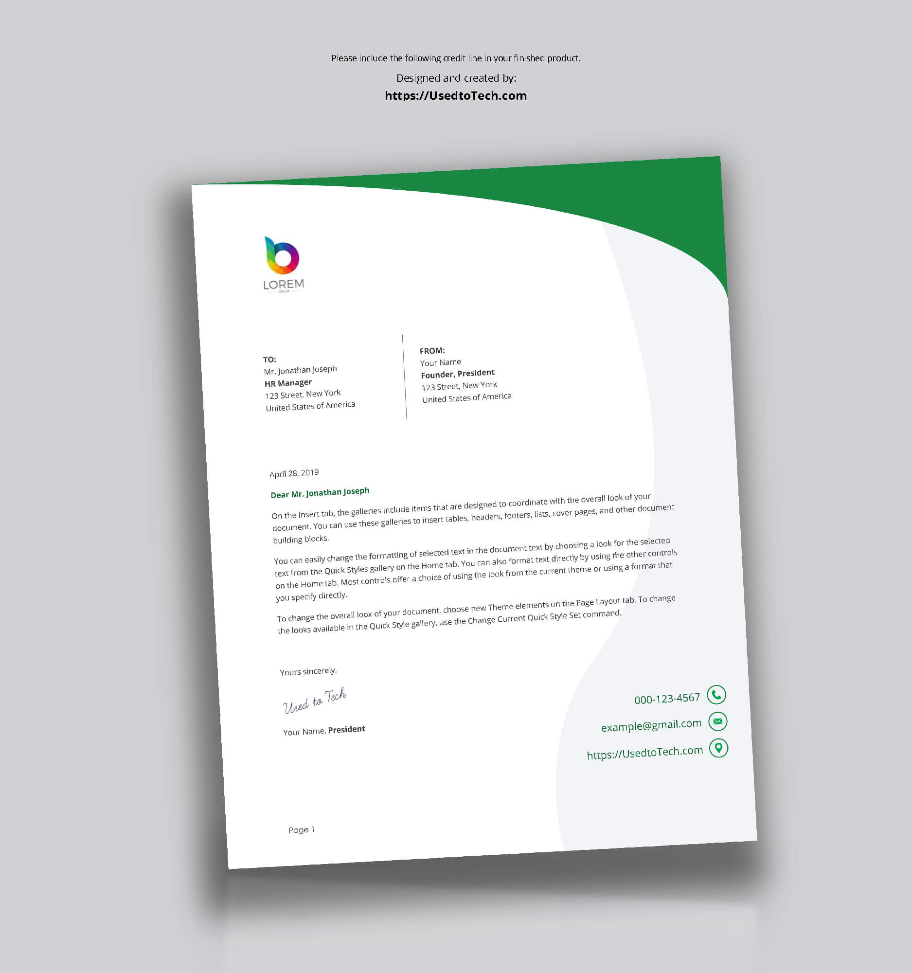 Perfect Letterhead Design In Word Free - Used To Tech intended for Free Letterhead Templates For Microsoft Word