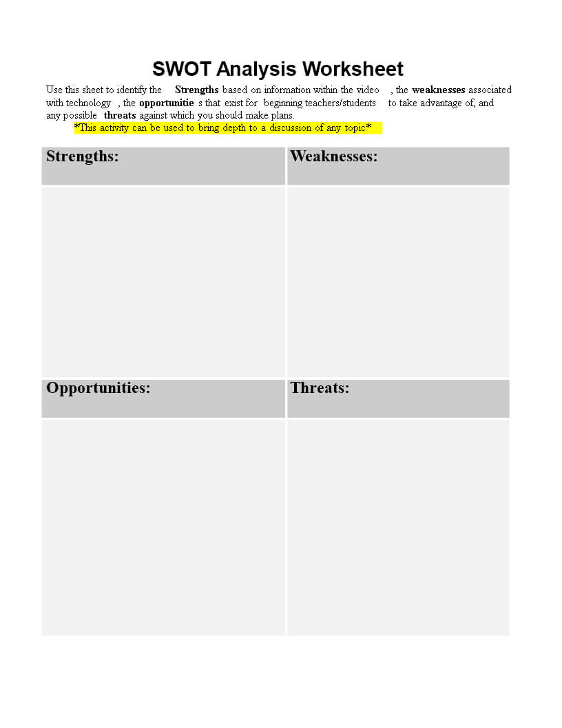 Personal Swot Analysis Worksheet Word | Templates At with Swot Template For Word