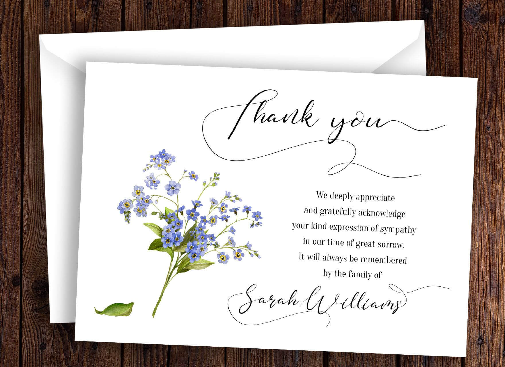 Personalized Funeral Thank You Card Sympathy Thank You Card throughout Sympathy Thank You Card Template