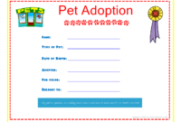 Pet Adoption Certificate For The Kids To Fill Out About with Pet Adoption Certificate Template